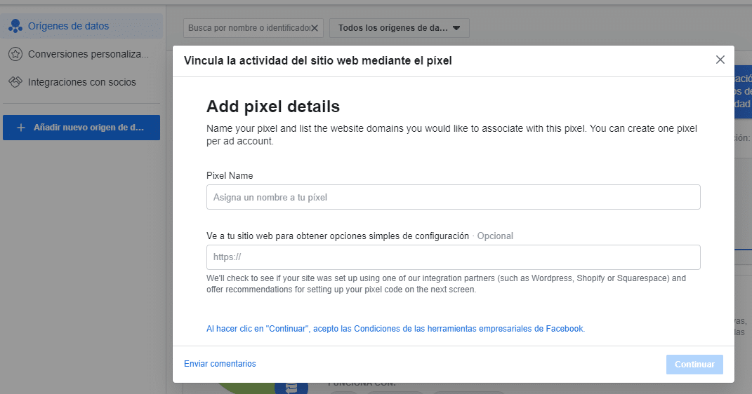 Añadir Facebook Pixel