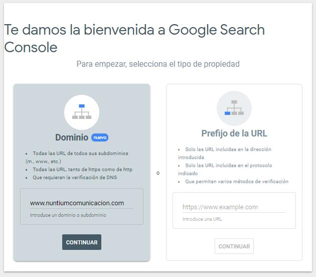 Google Search Console bienvenida