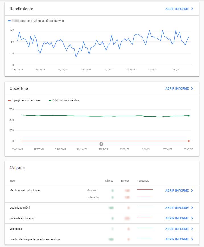 Google Search Console interfaz