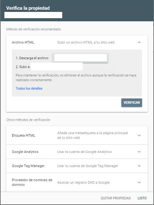 Google Search Console verificadook
