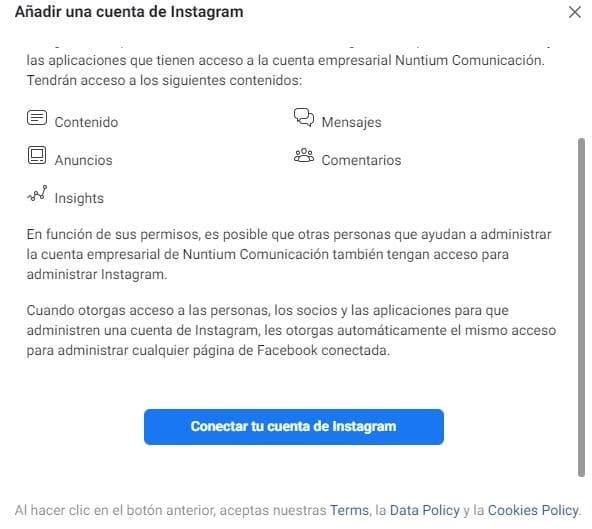 business manager vincular Instagram