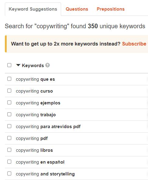 herramientas de copywriting-keyword tool